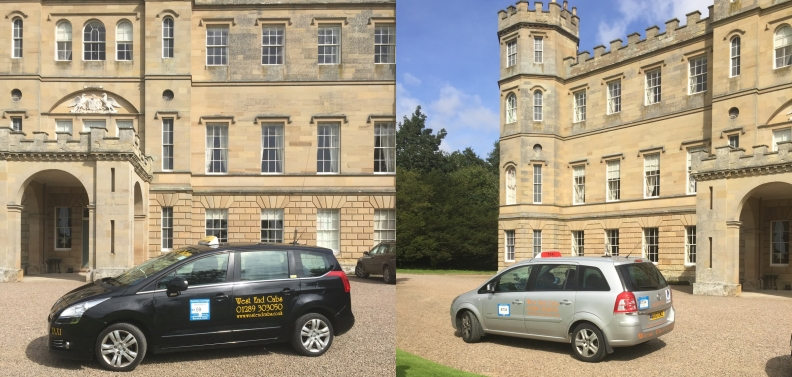 Our Peugeot and Zafira outside Wedderburn Castle